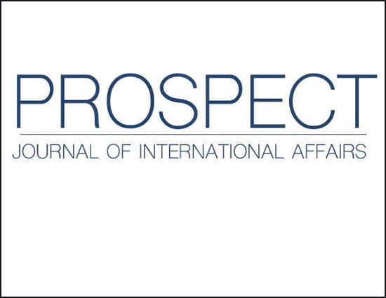 Prospect Journal of International Affairs  - blue letters on white background